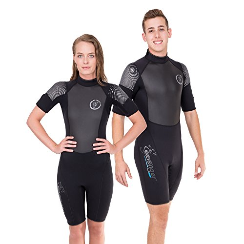 Seavenger Navigator 3mm Shorty | Short Sleeve Wetsuit for Men and Women | Surfing, Snorkeling, Scuba Diving (Surfing Black, Women's 13)