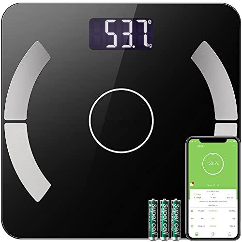Báscula Grasa Corporal, Báscula de Baño Inteligente, Balanza Digital Baño con Bluetooth por iOS y Android App, Análisis Corporal de13 Funciones, Incluir 3 baterías AAA