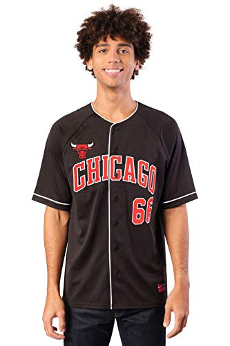 Ultra Game NBA Chicago Bulls Mens Mesh Button Down Baseball Jersey Tee Shirt, Black, Small