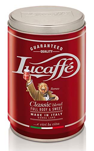 Lucaffé Klassischer gemahlener Kaffee, 250 g Aroma sparend im Stahlglas, gemahlener Kaffee 80% Arabica 20% robust, süßer Geschmack, geröstetes Aroma mit Haselnussnoten, weicher Körper