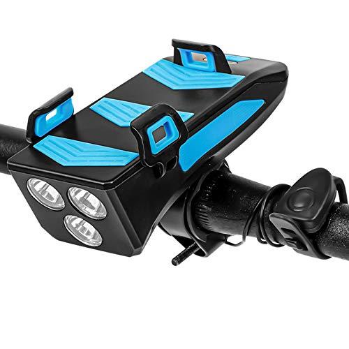 KYECOCO LED Fahrradlicht USB 4-in-1 Set Fahrradbeleuchtung Fahrradtelefonhalter Fahrradhupe Vorne Mobilstrom 4000mAh USB-Ladegerät Handyhalterung Fahrrad Mit Powerbank 3 Lichtmodi (3 Licht-BL-M)
