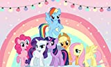 5x3 ft My Little Pony Party Rainbow Backdrop Baby Shower Happy Birthday Cake Table Decorations Nursery School Background Kids Photography Studio Props 05