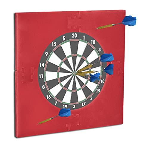 Relaxdays 10021530_114 Dartscheibe Schutz R6, Dart Auffangring, 45 cm Durchmesser, Catchring, EVA, HxBxT: 71 x 71 x 3 cm, bordeaux