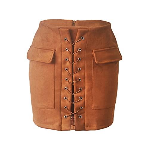 Sensitiveliu Faldas de Mujer Otoño con Cordones Falda de Tubo de Gamuza de Cuero Falda Cruzada de Cintura Alta con Cremallera Dividida Mini Faldas Cortas