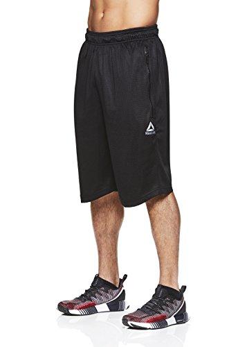 Reebok Men's Mesh Basketball Gym & Running Shorts w/Elastic Drawstring Waistband - Black Stay Tight, Large