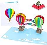 PopLife 3D-Pop-Up-Geburtstagskarte mit Heißluftballons –