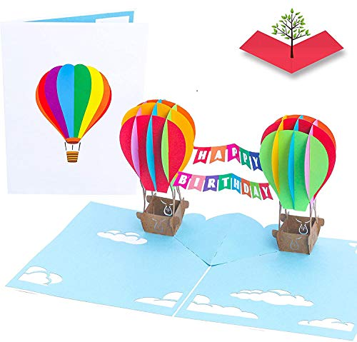 PopLife HAPPY BIRTHDAY Hot Air Balloons 3D Pop Up Birthday Card - Bday Card for Coworker, for Kids Party - Colorful Surprise, Small Gift - Folds Flat for Mailing - for Mom, for Dad, for a Friend