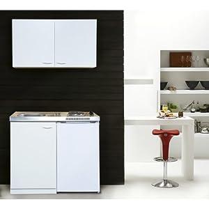 respekta MK100WOSC Mini cuisine avec plaque vitrocéramique Blanc 100 x 60 cm