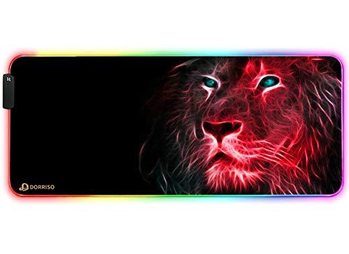 DORRISO RGB Alfombrilla de Ratón Gaming Extra Grande 900x400x4 mm XXL Alfombrilla Raton Gaming Grandes Impermeable para Gamers Ordenador PC Laptop Juegos Mouse Pad León Rojo