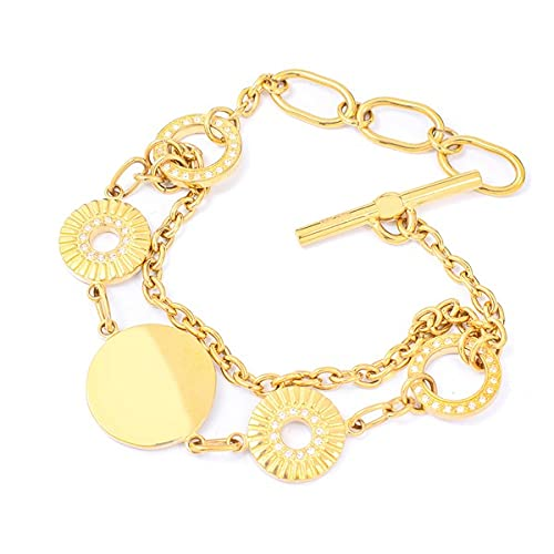 Pulsera de mujer de acero inoxidable de la marca Folli Follie, color dorado, 18 centímetros (referencia: 3B8T084YA)