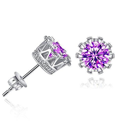 Beauty Fashion Jewelry Korean Style Small Jewelry Inlaid Zircon Round Crown Earrings Women's Earrings purple