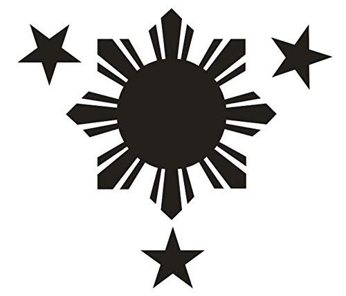 Black Philippines 4 ' Filipino Pilipinas 3 Stars 1 Sun Flag Vinyl Decal for Car Helmet Laptop