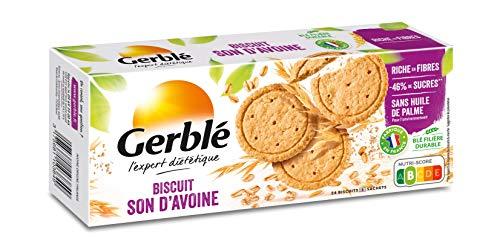 Gerblé Biscuits Son d'Avoine, Allégés en sucres, Riches en fibres, Sans huile de palme, 18 biscuits, 144g