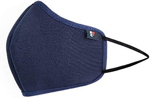 Confezione da 5 maschere blu protettive, resistenti agli spruzzi, traspiranti, lavabili, con sistema di filtraggio a 6 strati per un uso quotidiano confortevole
