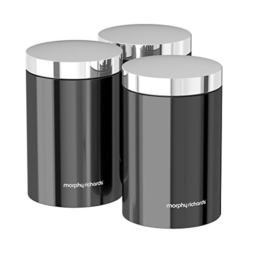 Morphy Richards Accents Kitchen Storage Canisters, Stainless Steel, Translucent Black, Set of 3
