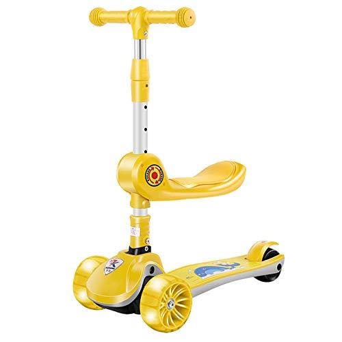 JXILY Scooter De Patada Plegable para Niños, Scooter del Planeador De 3 Ruedas, Intermitente LED, Cubierta Amplia Cómoda, con Altura Manillar Ajustable Y Plegable