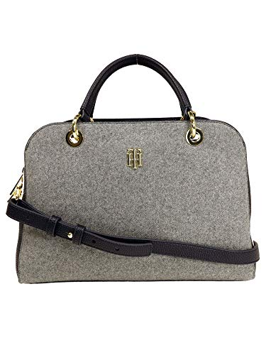 Tommy Hilfiger Damen Handtasche Tasche TH Essence Duffle Melton Grau