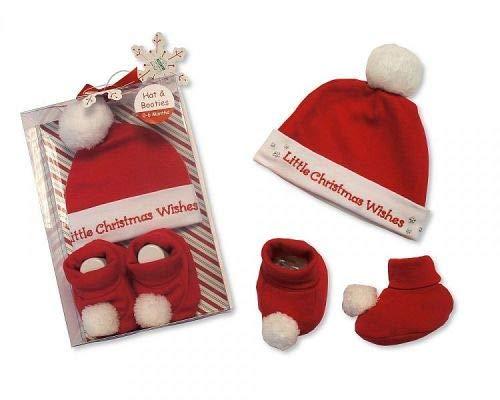 Baby-Geschenkset mit Mütze und Babyschuhe, Baumwolle, Weihnachtswünsche, kleine Weihnachtswünsche