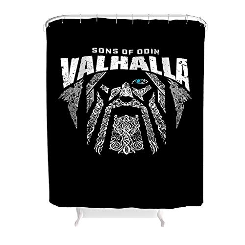 Rcerirt Wikingersöhne von Odin Valhalla Badezimmer Vorhang Kein chemischer Geruch für Badezimmerdekoration White 150x180cm