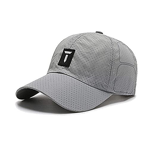 BMSGM Gorra de béisbol para Hombres y Mujeres Ajustables de Color sólido Deportes de Calidad de Moda Sombreros Verano Fino sombrilla y Tapas Transpirables,Light Gray