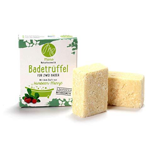 Mara – Calcetines de baño de menta frambuesa para dos baños, cosméticos naturales, vegano, ecológico, hechos a mano, 2 x 60 g