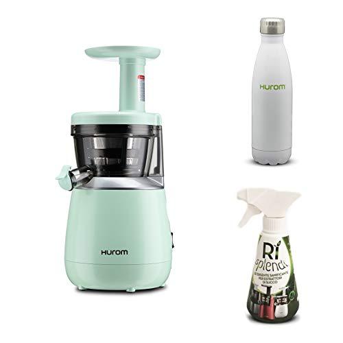 Hurom - Estrattore di Succo Verticale HP - Verde + Detergente mini + Bottiglia Termica inclusi nel prezzo