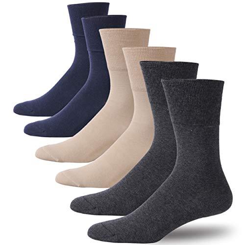 Forcool Dry Fit Diabetic Socks, Men's Women's Cushioned Mid Calf Dress Socks Diabetes Cotton Socks Wide Crew with Non Binding Loose Top Seamless Toe, 6 Pairs Dark Gray/Navy Blue/Beige Medium