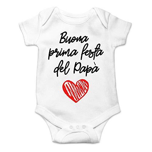 Body con texto en inglés «Buon Prima Día del Padre», ideal como regalo para el Día del Padre, para niños y niñas, de manga corta Color blanco. 6- 12 Meses