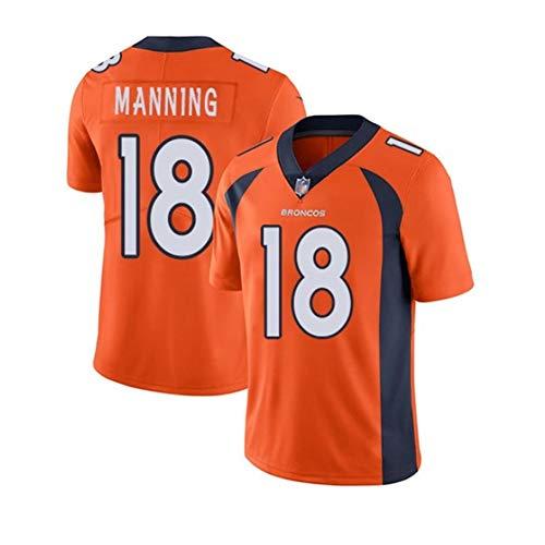 Peyton Manning # 1 Denver Broncos Herren Rugby Jersey Fußballtrikot, Stickerei Kurzarm Sport Unisex Fans Trikots Atmungsaktives T-Shirt Wiederholbare Reinigung-orange-M(175cm~