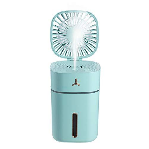 esonmus Mini Fan&Luftbefeuchter 300mL, USB Ventilator, wiederaufladbarer Lüfter-18650 Batterie Lüftung Klimaanlage Lüfter Tragbarer Kühler für Reisen Camping Office Home
