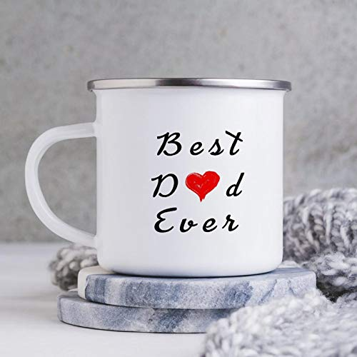 BEST DAD EVER Enamel Camping Coffee Mugs Resusable & Portable Enamel Campfire Tin Mugs 10 oz Metal Enamel Drinking Mugs Cups Ideal for Home/Office/Travel/Camping