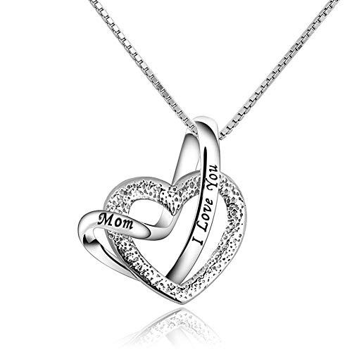 Korliya I Love You Mum Mom Heart Necklace Sterling Silver Pendant For Women Mother'day (Mom)