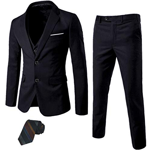 MY 'S Men 's 3 Piece Slim Fit Suit Set, 2 Button Blazer Jacket Vest Pants with Tie, Solid Wedding Dress Tux and Trousers Black, Medium