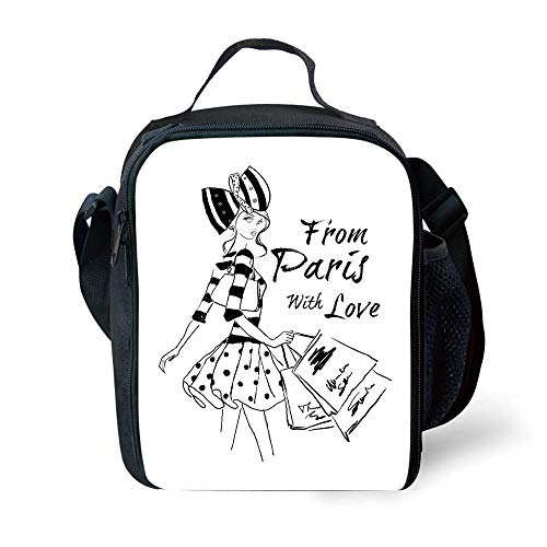 MLNHY School Supplies Paris,from Paris with Love Fashion Hand Drawn Girl Figure Shopping Polka Dot Design Skirt Decorative,Black White for Girls or Boys Washable