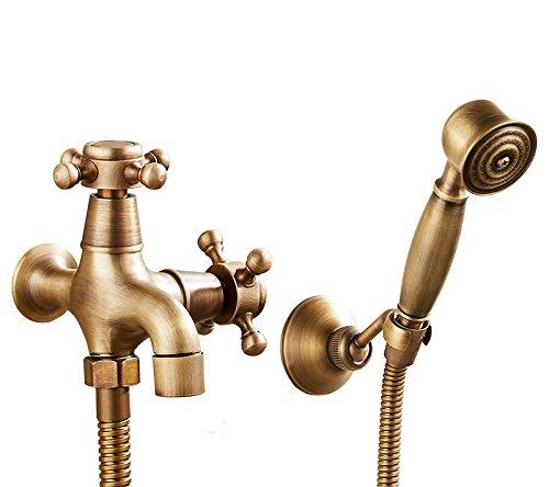 GFEI cuivre antique machine à laver style européen, petit robinet / balcon mop piscine, seul robinet d'eau froide machine à laver, robinet à ouverture rapide,h