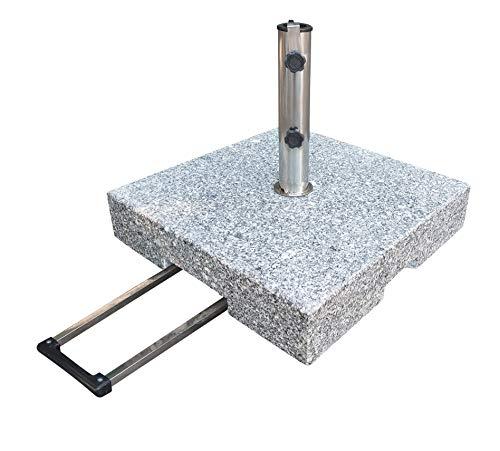 Pure Home & Garden 70 kg Granit Schirmständer mit Rollen und Trolleyfunktion