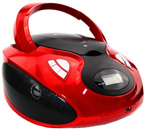 CD-Player   Tragbares Stereo Radio   Stereo Radio   USB   Kinder CD/MP3 Player   Radio   Kopfhöreranschluss   Aux in   LCD-Display   (Rot)
