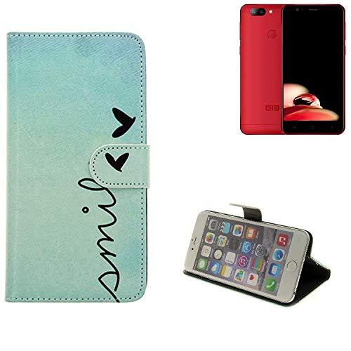 K-S-Trade Schutzhülle Für Elephone P8 Mini Hülle Wallet Hülle Flip Cover Tasche Bookstyle Etui Handyhülle ''Smile'' Türkis Standfunktion Kameraschutz (1Stk)