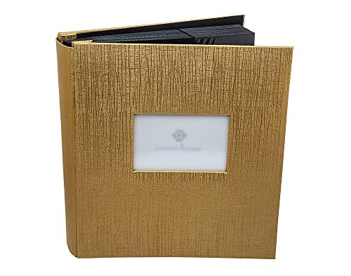 Philip Whitney Gold Photo Book Album with Window for Text