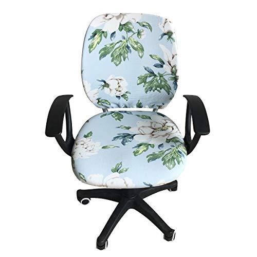 Coprisedia da ufficio estensibile per computer con schienale e sedile protettivo, copertura universale per sedia da ufficio, sedia direzionale girevole (Flower_01)