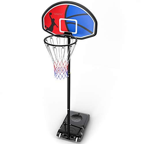 HAHAKEE Basketballständer, Höhenverstellbar Basketballkörbe 5ft to 7ft befüllbare Ständer, Rückwand und Räder Backboard Tragbar für Kinder Erwachsene im Freien zu Hause
