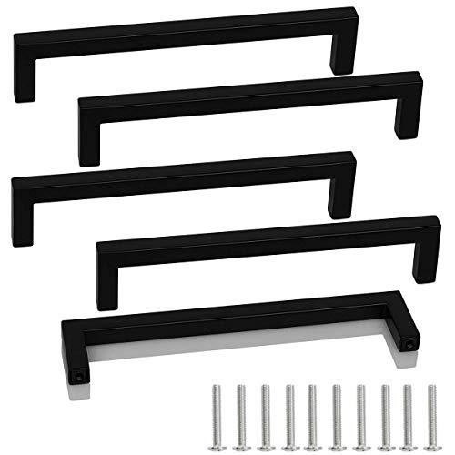 Drenky 5 unités poignées d'armoire en acier inoxydable boutons de porte noirs tirer la poignée de meubles avec vis pour tiroir armoire meubles cuisine décoration de la maison distance du trou 160mm