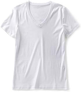 SilRiver Women's Silk V-Neck Top T-Shirt, Layering Undershirt, Comfy Short Sleeves Shirts