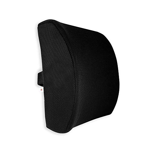 GoMechanic Memory Foam Lumbar Support for Back Pain Relief Compatible with Computer, Office Chairs and Cars -Ergonomic Designs Having Anti Sweat Mesh Cover on Lumbar Chair Support, (Black)