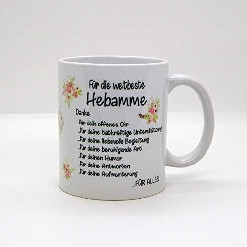 Kaffeebecher ~ Tasse - Für die weltbeste Hebamme - Danke (Blumen) ~ Weihnachten Geburt Baby Geschenk