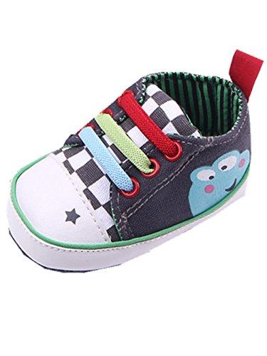 YICHUN Bébé Chaussures de Premier Pas Chaussures Souples de Sport/de Loisir Grenouille Imprimé (Longueur de Semelle:13CM, Gris Foncé)