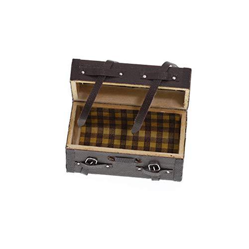Puppenhaus Zubehör Miniatur Holz Trunk Koffer Reisekoffer Handgepäck mit Riemen und Schnallen Mini Garten Möbel Deko Ornament Fairy Puppenstube