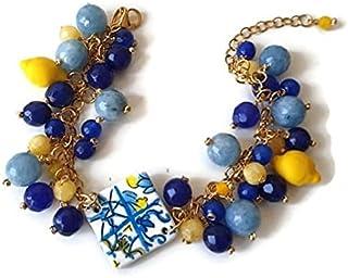 bacciale ceramica, bracciale con ciondolo, bracciale pietre dure, bracciale blu e giallo, bracciale argento placcato oro
