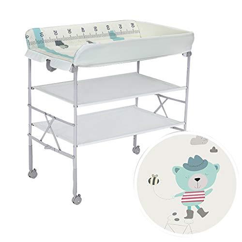 JINYANG JY Wickeltisch Faltbarer Multifunktions-Touch-Tisch Kann Badewanne hinzufügen Neugeborenen-Massagetisch Einstellbar mit Rädern Lagerung