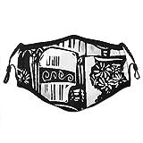 ZELXXXDA Mexikanischer Tag des toten Tages der Holzschnittart des Hochzeitsbildes mit Bräutigam und Braut,Staubwaschbarer wiederverwendbarer Filter und wiederverwendbarer Mundschutz gesicht